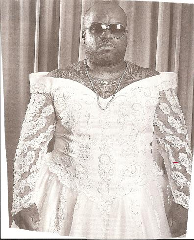 Green Dress on Tough Looking Fat Guy  Cee Lo  In Wedding Dress    Front View  In The
